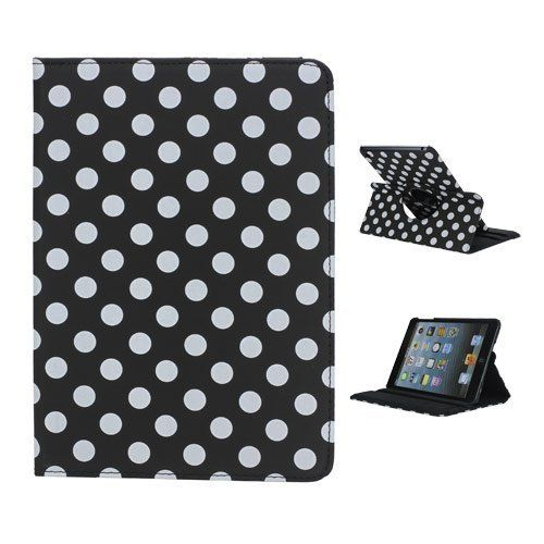 StrangeNosecase for iPad Mini 1/2/3,Lovely Polka Dots Pattern 360 Rotating,[Auto Sleep/Wake] Folding Leather Cover Folio Flip Stand for iPad Mini 1/2/3. (Black Dot) * This is an Amazon Affiliate link. Details can be found by clicking on the image.