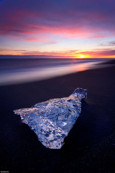 Ice Jewel - Jökulsárlón (Glacier Lagoon), Iceland ~ Photo by Shy Cohen: Beautiful Iceland, Favorite Places, Sandy Beach, Icebergs Awesome, Ice Berg, Sunrise Sunset, Black Sand