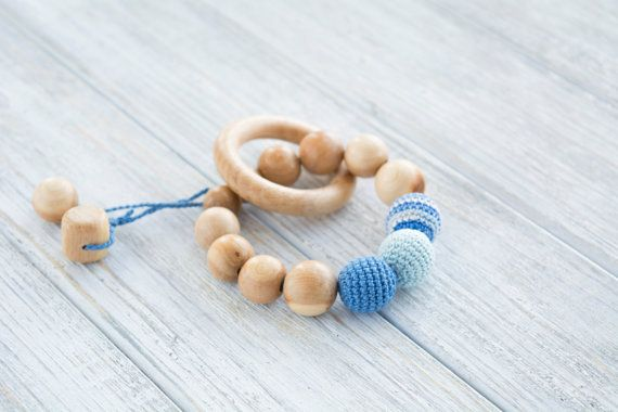 Blue teething ring with crochet juniper beads and by MyFirstToy
