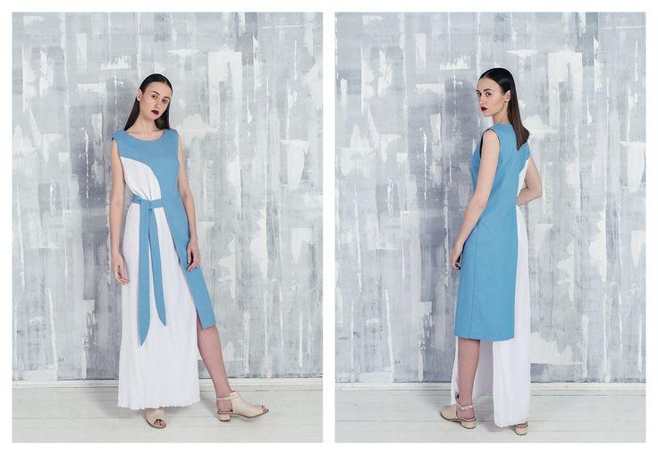 Acимметричное платье из денима и шифона гофре BUNTOVA ALEKSA SS`16  #дизайнерскоеплатье #российскиедизайнеры #russianfashion #lookbook  #denimdress #BUNTOVAALEKSA #SS16