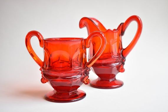 Fostoria Red Sugar Creamer Set Argus Pattern From 1960 S Bright Small Glass Ruby Vase Christmas Tableware Coffee Tea Set Hot Cocoa In 2020 Christmas Tableware Tea Set Fostoria