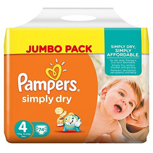 Pampers – Simply Dry – Couches Taille 4 (7-18 kg/Maxi) – Jumbo Pack – Lot de 2 (x148 couches): Au sec avec Pampers, à un prix abordable…