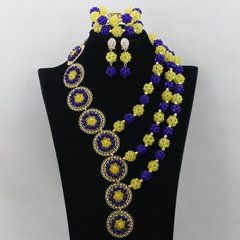 New arrival African Nigerian Yellow and Royal Blue 6mm Crystal Beads Jewelry Set, Nigerian Bead Necklaces Wedding African Beads Jewelry Set