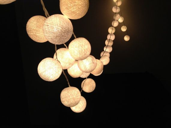 White cotton ball string lights for PatioWeddingParty and by ginew, $11.50