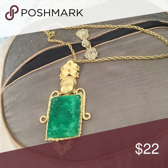 """CHICOS Necklace This is a beautiful piece ,very Oriental looking. It has a large pendant (6"""") hanging from a (12"""") link chain. The pendant body is a large green stone, Chico's Jewelry Necklaces"""