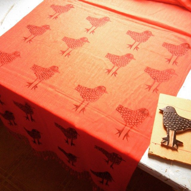 I'm printing my birdie on five red and five grey scarves for Xmas time! When they're ready I'll put a link to my shop . #putabirdonit #scarves #gift #birdprint