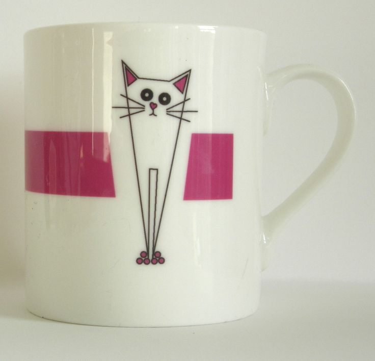 A beautiful fine bone china mug from Giddy Sprite.com Part of the new cat range.  There is also a man version of this design