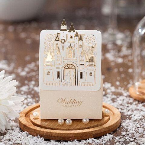 romantic laser cut and foil disney wedding favor box