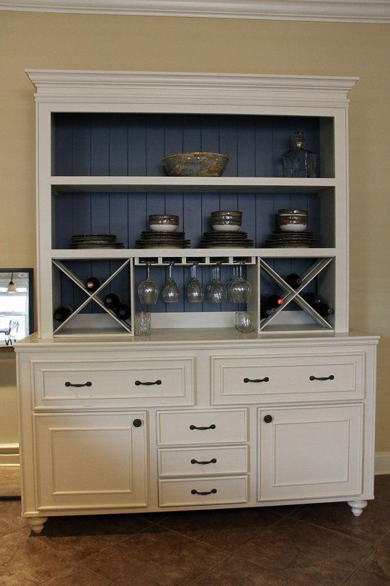 Custom Built Buffet w/ Hutch & Wine Rack China by KPCustomBuilds, $1700.00 - Inspiration for refurbishing my old dresser!