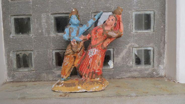 Antique Clay Figure of Lord Krishna and Radha. 1940's. Handmade Tribal Original Genuine Rare Painted Hindu Gods Figurine Decor Indian Asian. by Lallibhai on Etsy