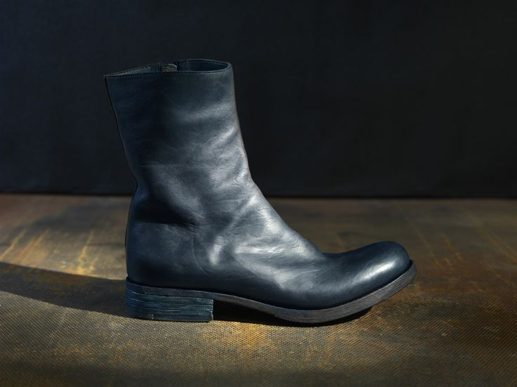 Shop Zipped boots – by Pollacki, €690 at Vathir.com | Tall, wholecut zipped boots have a rounded toe box and side zip fastening. The ankle boots have been hand made from a one piece of avancorpo horse leather with a hand dyed finish. The shoes have been made using vegetable tanned leather.  Each piece of Pollacki is individually cut and hand made to order, please allow 2-4 weeks for making them and shipping.