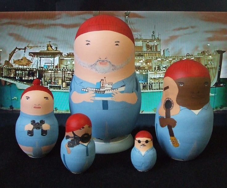 Steve Zissou teamZissou Matryoshka, Movie Pictures, Wes Anderson, Movie Obsession, The Life Aquatic, Steve Zissou, Matryoshka Dolls, Random Awesome, Matryoshka Reference