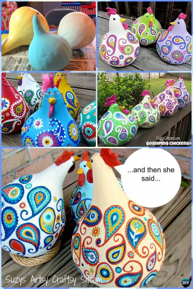 DIY Gossip Paisley Painted Gourd Chicken Instruction-DIY Gourd #Craft Projects