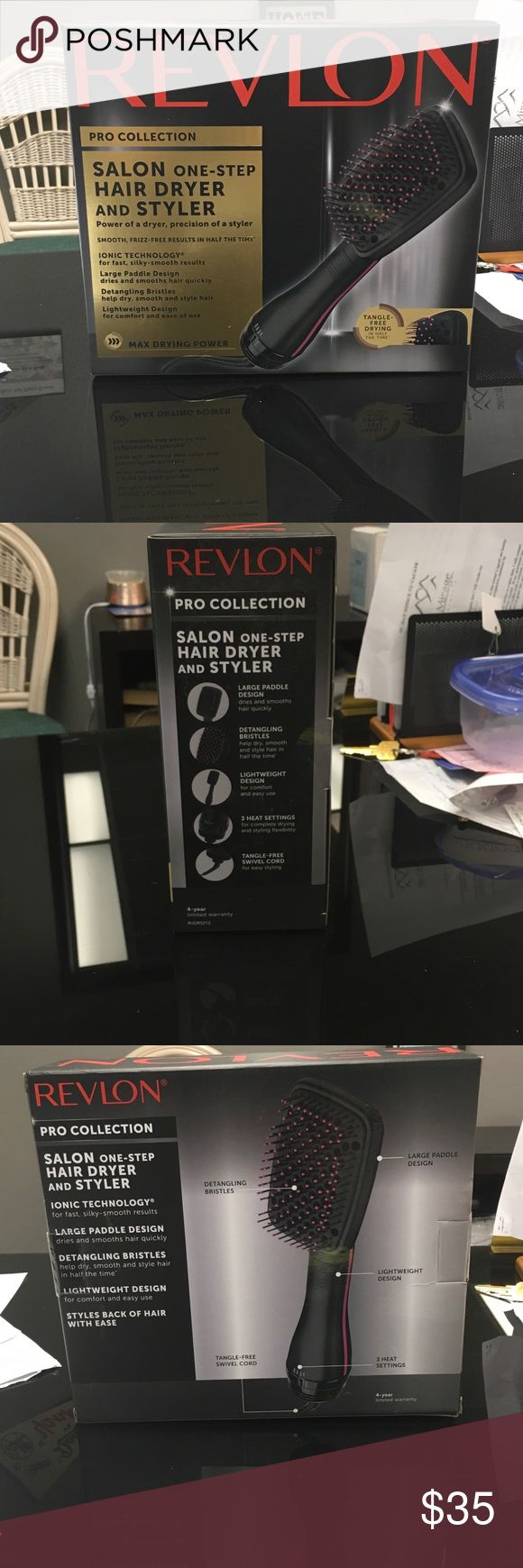 Revlon Pro Collection Salon Hair Dryer and Styler Brand new! Never came out of the box! Revlon Salon One-Step Hair Dryer and Styler!  Ionic Technology, Large Paddle Design. Detangling Bristles, Lightweight, Multiple Heat Settings with a Professional Swivel cord Revlon Other
