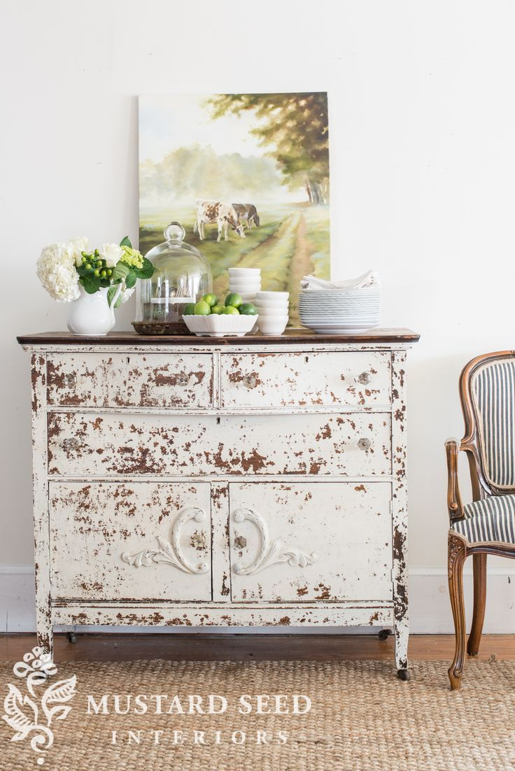 Oak buffet reveal   before and after furniture   furniture redo   milk paint   chippy paint finish   Tough Coat   Farmhouse White
