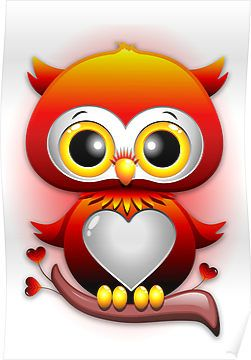 Baby Owl Love Heart Cartoon | Poster