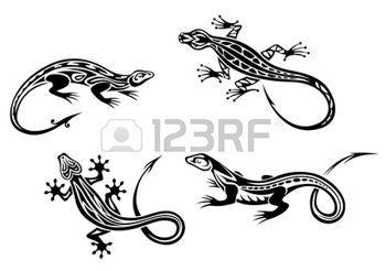 lezard: Reptiles Lizard mis dans le style trbal pour la conception de tatouage ou de la mascotte