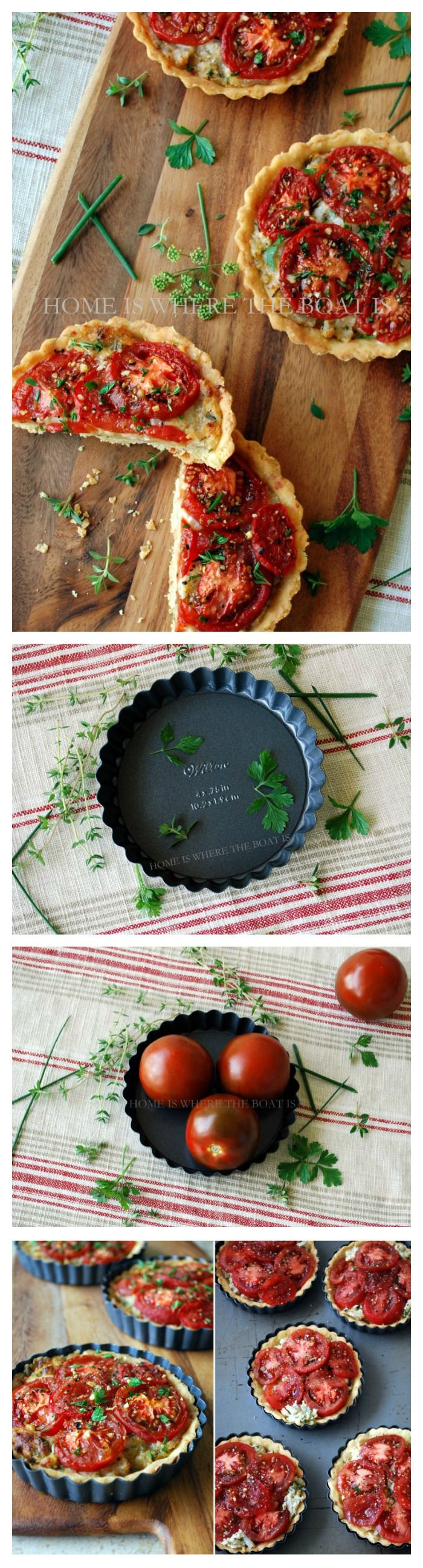 Mini Tomato Tarts! Caramelized onion, shredded mozzarella, bread crumbs and herbs are topped with tomatoes in a flaky cornmeal-manchego cheese crust!   homeiswheretheboatis.net #tomato #summer #recipe