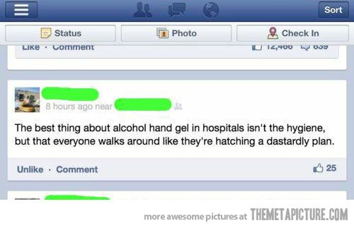 Muahahaha! @Courtney Easterwood Maybe we should start laughing as we clean our hands & se how people react?!LOL