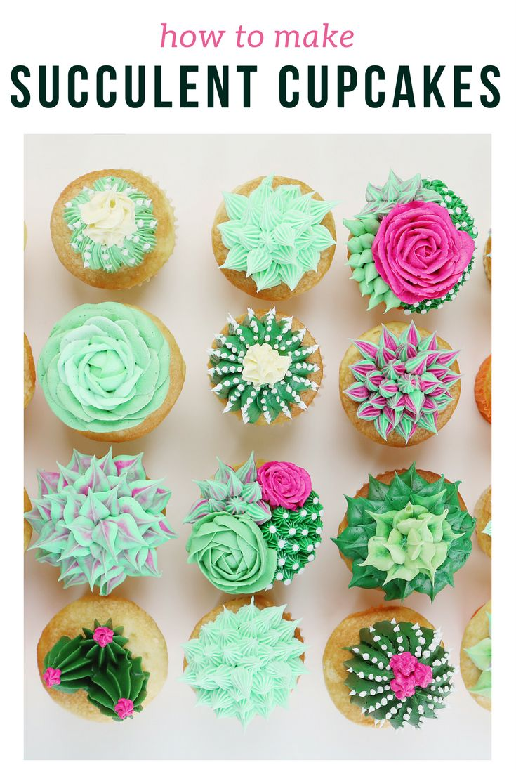 Because we're still super obsessed with succulents... how to make Sweet Vanilla Succulent Cupcakes | the INSPIRED home