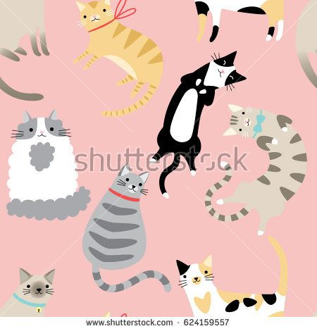 Seamless pattern with cute cartoon cats