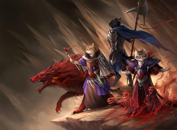 Warlocks Dragons: Party Of Cats 3 By Sandara Cat Kittens Kitten Necromancer