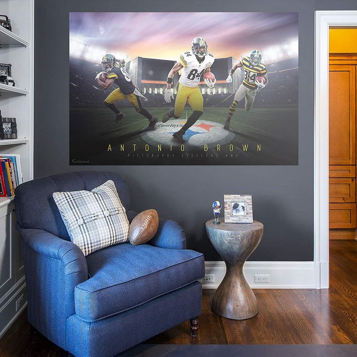 Pittsburgh Steelers Antonio Brown Montage Mural Wall Decal by Fathead, Multicolor