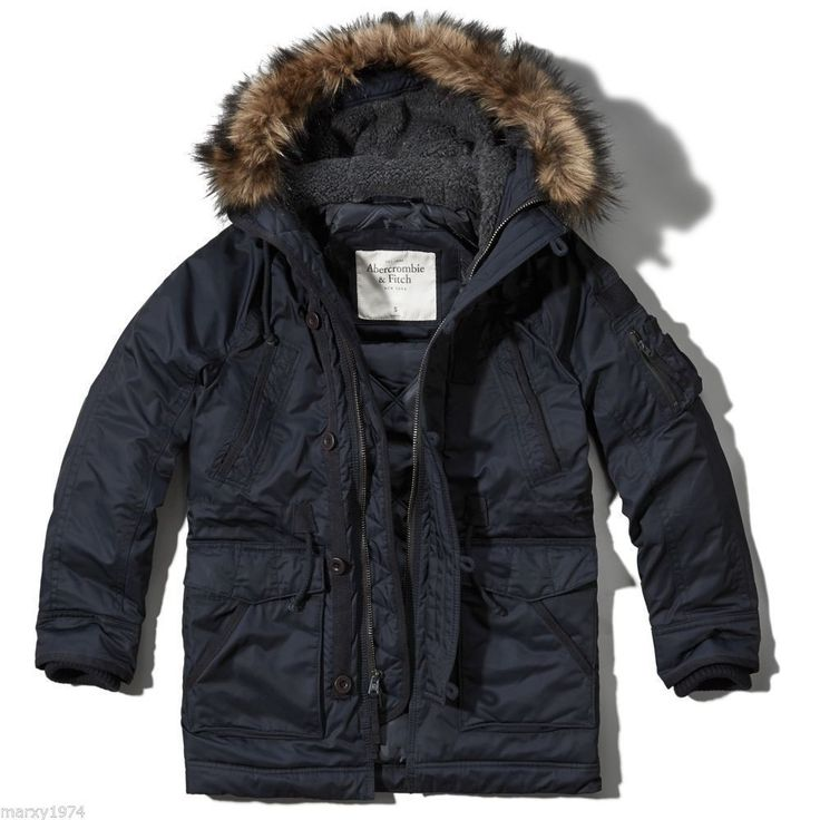 NWT Abercrombie & Fitch Men's Gill Brook Insulated Navy Parka Coat Jacket L