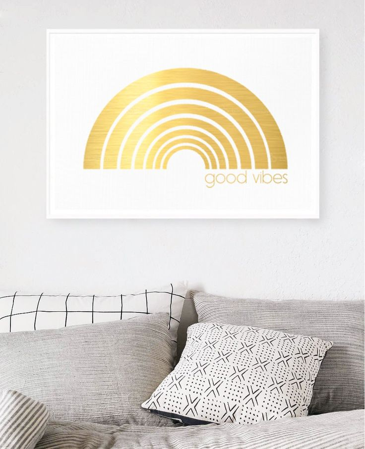 Good Vibes Rainbow - Limited Edition Gold Foil Print    Hunters