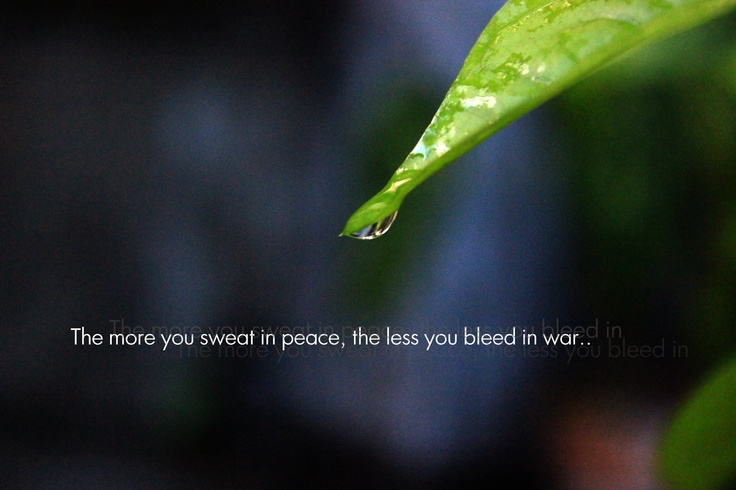 The more you sweat in peace, the less you bleed in war..