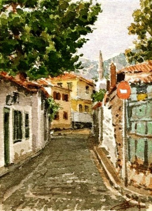 Dimitris Stathopoulos (b.1946) – Xanthi, Greece • watercolor on paper http://67100.gr/stathopoulos/images/sokakia/indexe.php?path=./&page=0&idx=4