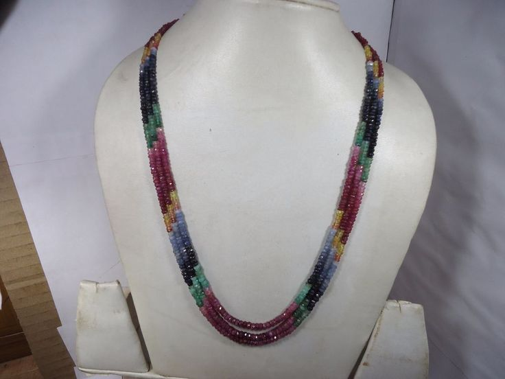AAA EMERALD RUBY SAPPHIRE 3 STRANDS MULTY FACETED RONDELLE NECKLACE 199.50Cts #GemstoneTopper #StrandString