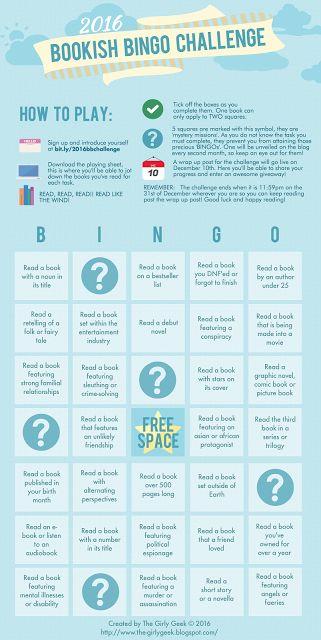 The Girly Geek Blog: The 2016 Bookish Bingo Challenge