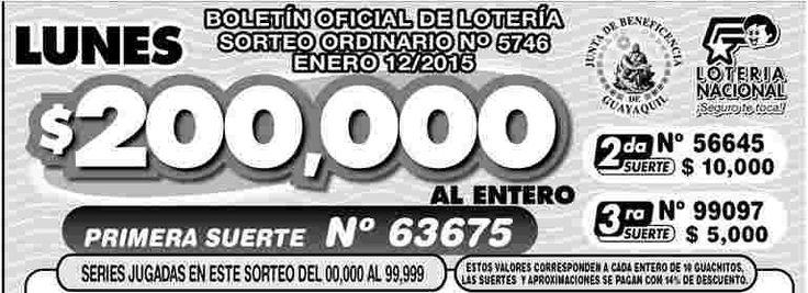 Ecuador: Resultados del sorteo de la Loteria Nacional, lunes 12 de Enero 2015. Ver resultados de los sorteos de la Loterias: http://wwwelcafedeoscar.blogspot.com/search/label/loteria%20nacional%20de%20ecuador