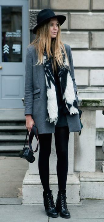 The coat over the tights & booties looks great, especially with the fun scarf and adorable hat. It's like updated Annie Hall.