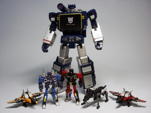 Takara Tomy Transformers Masterpiece Soundwave, Laserbeak, Rumble, Ravage, Frenzy and Buzzsaw.