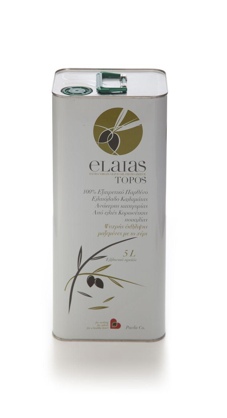Elaias topos extra virgin olive oil from the region of Kalamata, Greece.