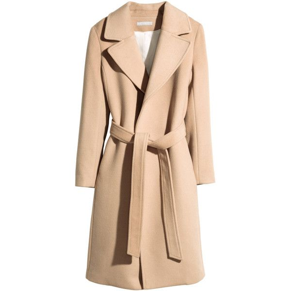 H&M Coat in a wool blend (£80) ❤ liked on Polyvore featuring outerwear, coats, camel, camel coat, h&m coats, wool blend coat, tie belt and beige coat