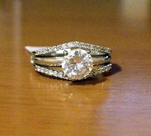 Yellow Gold Solitaire Enhancer Diamonds Ring Guard Wrap Wedding Band NEW Good Example Of I Would Like Def Not Two Tone