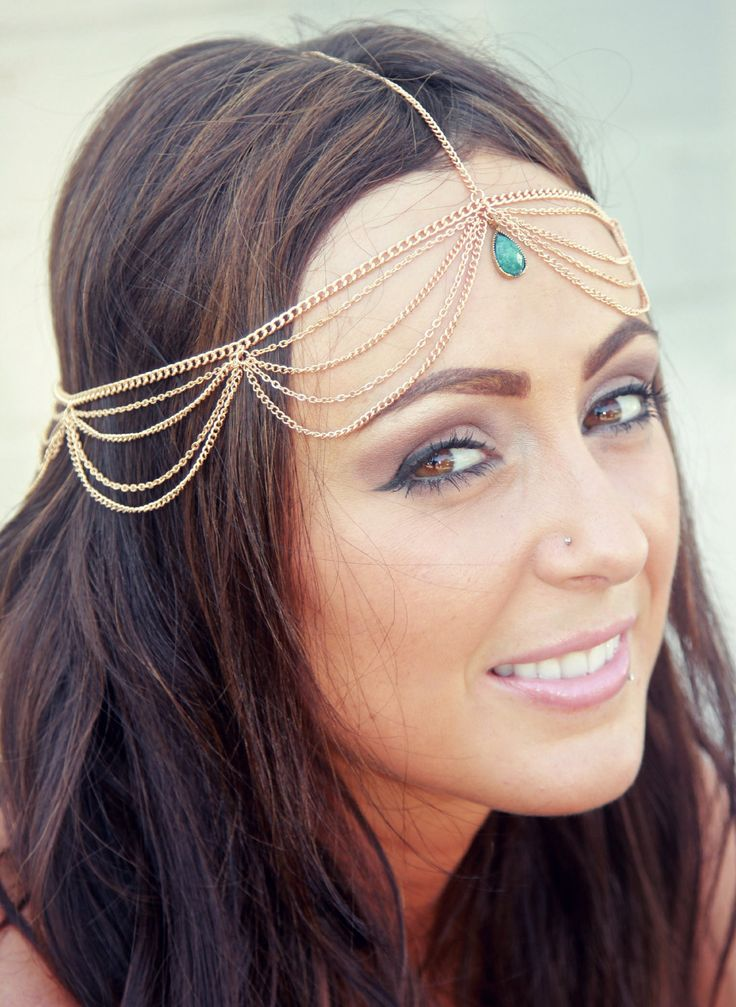 CHAIN HEADPIECE chain headdress head chain by LovMely on Etsy I bet I could make it with the supplies
