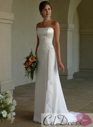 Charming A-line Strapless Satin and Chiffon Sweep Train Beach Wedding Dress - Sheath / Column - Wedding Dresses - CDdress.com