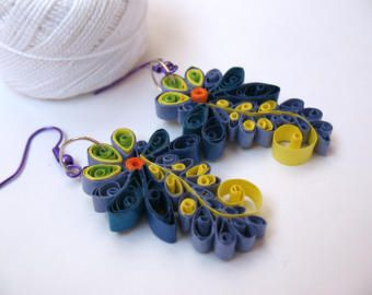 Quilling blue Chamomile Earrings paper quilling jewerly