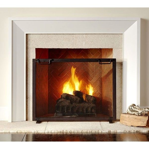 Pottery Barn Industrial Fireplace Large Single Screen ($199) ❤ liked on Polyvore featuring home, home decor, fireplace accessories, brown, fireplace tool set, fireplace screens, hearth tool set, fire-place screen and industrial home decor