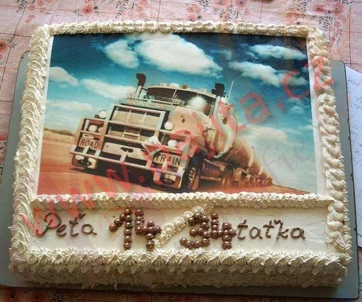 Krémový dort s obrázkem kamionu