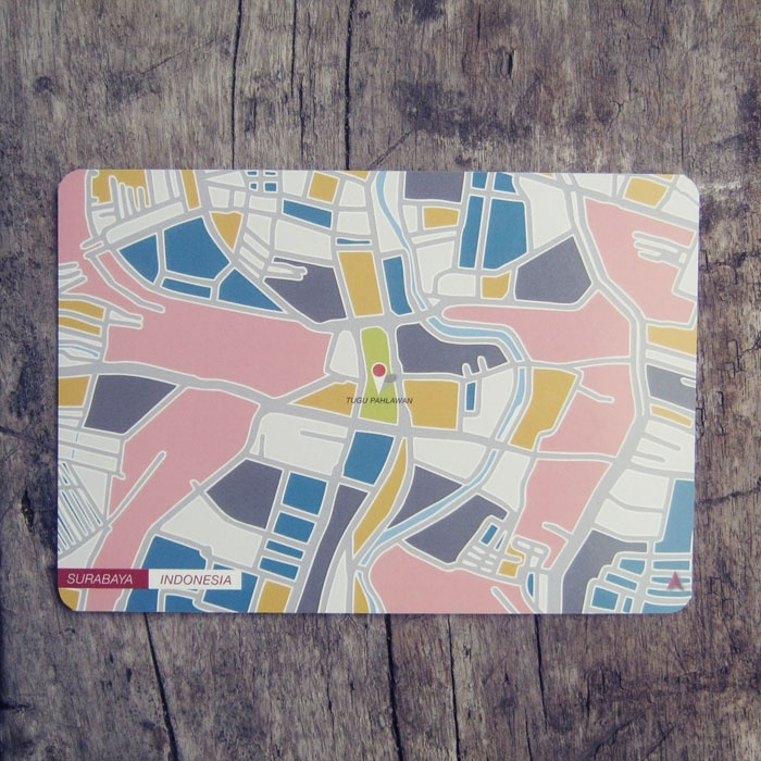 Postcard | Indonesian City Map Postcard Series | Surabaya - Indonesia