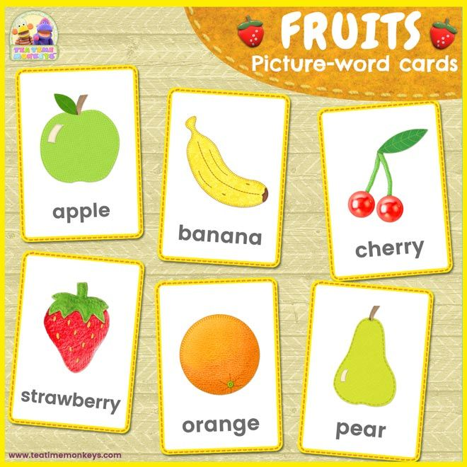Fruits Picture Word Flashcards Tea Time Monkeys Fruit Picture Fruits For Kids Flashcards