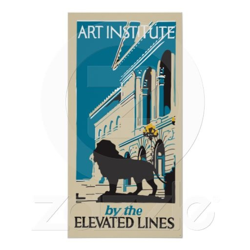 """Retro art institute Chicago vertical banner advertising poster, up to 30"""" by 60"""" (our vector remake of a vintage advertisement)"""