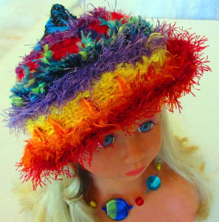 Rainbow Blue Black Spiral Crochet Hat Beanie by ArtNomadixMeggaYarnz on Etsy