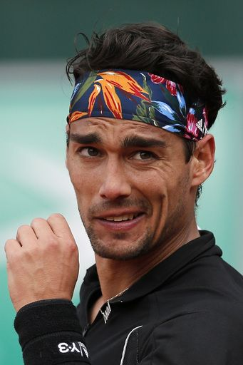 #FabioFognini #Fognini #FrenchOpen2015 #tennis Italy's Fabio Fognini reacts as he plays Japan's Tatsuma Ito during their first round match of the French Open tennis tournament at the Roland Garros stadium, Monday, May 25, 2015 in Paris, (AP Photo/Christophe Ena)