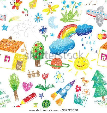 child drawing seamless pattern